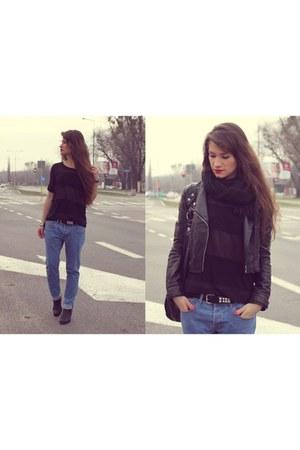 black jacket - black boots - sky blue jeans - black blouse