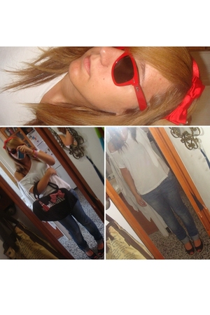 Ray Ban sunglasses - Claires accessories - H&M t-shirt - Chipie jeans - Mustang