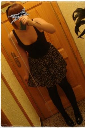black Bershka dress - black Calzedonia panties - black BLANCO shoes - black Clai