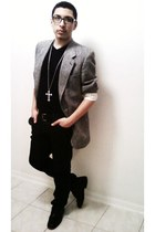 nice thrifted shoes - gray thrifted blazer - dark Rue 21 pants - punk spikes jou