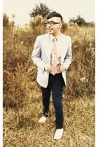 beige Aldo shoes - dark blue Target jeans - striped thrifted blazer - floral pri