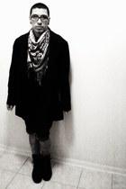 vintage Wanted boots - dark Target coat - vintage Forever 21 scarf - denim jeans