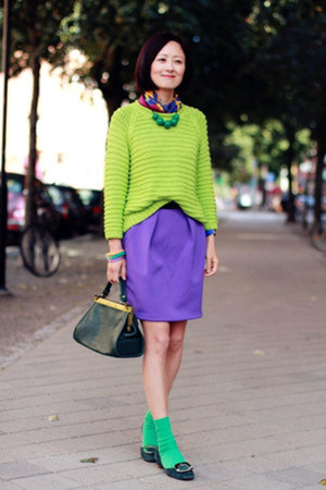 Whitles sweater - Hermes scarf - hm skirt - Roger Vivier flats