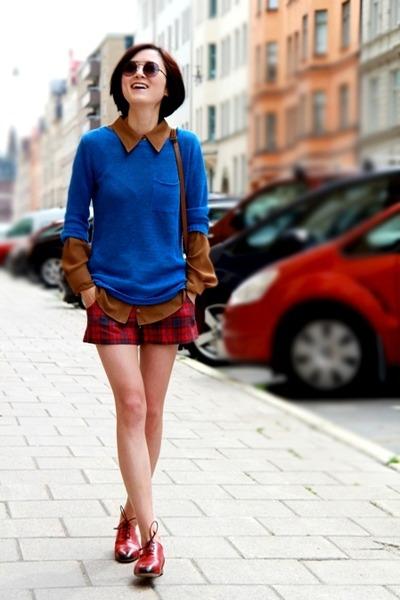 Mango sweater - Bally shoes - Celine bag - Topshop shorts - Mnago blouse