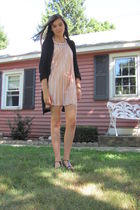 beige Forever 21 dress - black Target cardigan - white H&M leggings