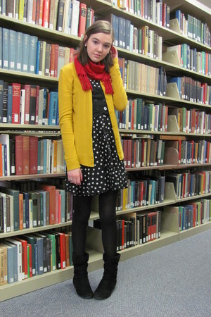 black H&M dress - red scarf - mustard Target cardigan