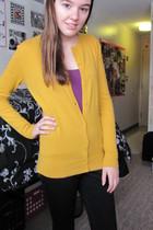 gold Target cardigan - black pants - purple shirt