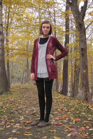 red Target cardigan - silver TJ Maxx top - green Target shoes
