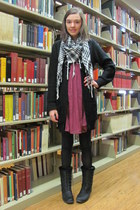 hot pink dress - black scarf - black cardigan