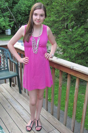 pink Heritage 1981 dress - black shoes - silver H&M necklace