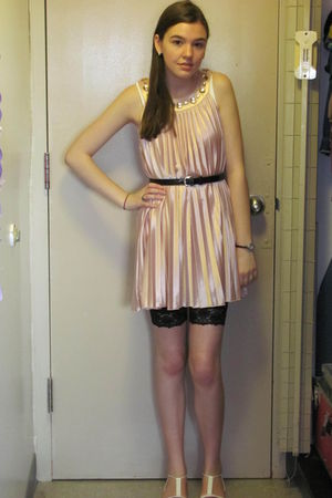 beige Forever 21 dress - black H&M leggings - white unknown shoes