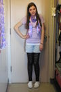 Black-target-leggings-white-city-sneaks-shoes-purple-t-shirt-blue-shorts-