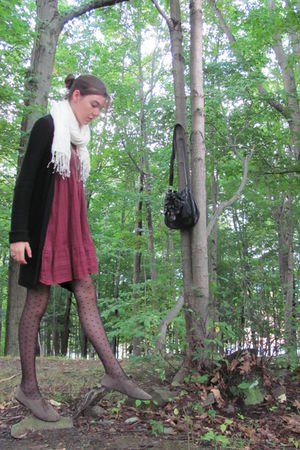 red Target dress - white scarf - black thrifted sweater - black H&M tights - gre
