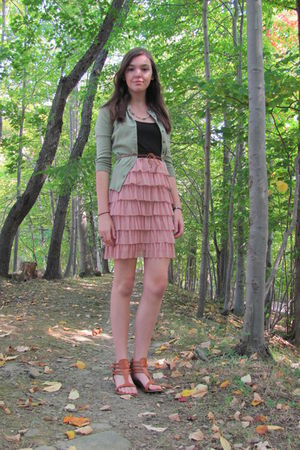 pink Target dress - green Express Studios cardigan