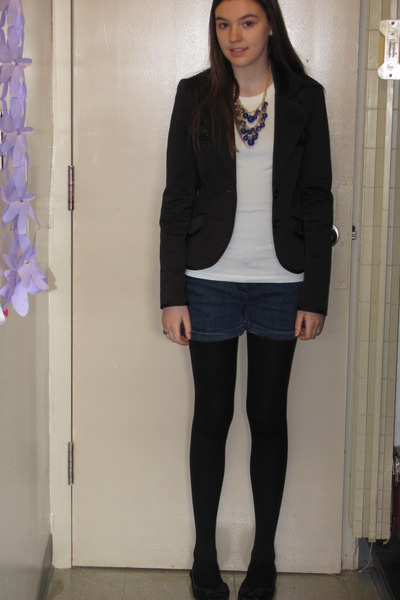black H&M blazer - white Forever 21 shirt - blue Charlotte Ronson for JCP shorts
