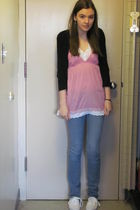pink top - black sweater - blue jeans - white shoes