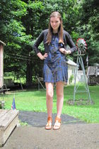 blue Urban Outfitters dress - black Target sweater - beige Rouge Helium shoes