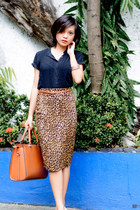 burnt orange Princesa Clothing skirt - black blouse