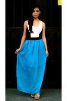 white Trendology top - sky blue maxi skirt Trendology skirt