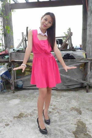hot pink thrifted dress - black Charles & Keith pumps