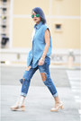 Transarent-shoes-shoes-cutout-denim-jeans-jeans-patchwork-denim-shirt-shirt