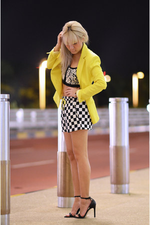 yellow Zara blazer - checkered Zara shorts - Zara heels - Topshop top