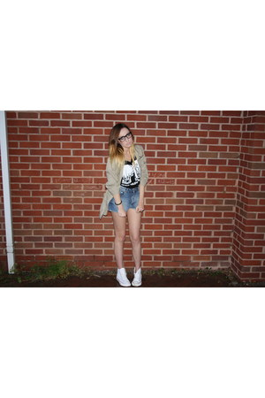 Stradivarius jacket - Topshop shorts - River Island t-shirt