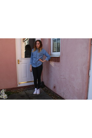 denim Topshop shirt - knitted Topshop leggings - white Converse sneakers