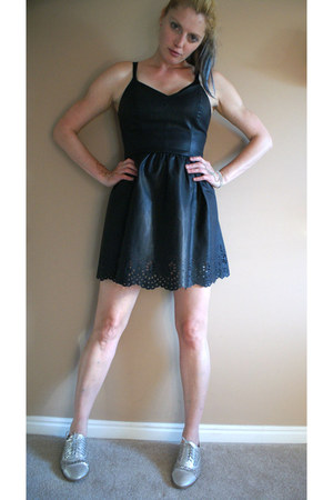 black lazer cut Forever 21 dress - silver Forever 21 flats