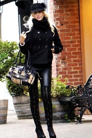 black Michael Kors coat - black ivka Jeffrey Campbell boots