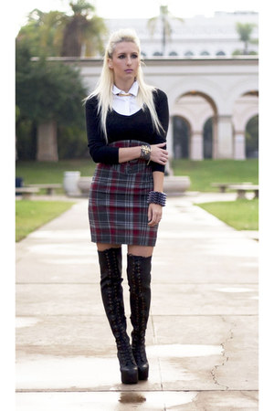 brick red tartan plaid Skirt skirt - black Jeffrey Campbell boots