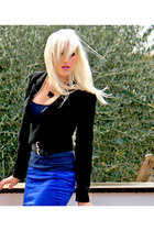 black cropped H&M blazer - blue H&M top - blue H&M skirt - black bow necklace DI