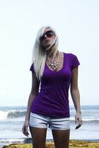 deep purple Ayana Designs necklace - white H&M shorts - tan PB&J pumps