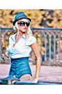 Dark-gray-bought-in-prague-hat-light-blue-collared-h-m-shirt-turquoise-blue-