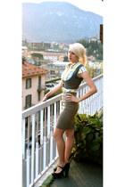 gray bought in Prague vest - tan bought in Rome skirt