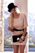 ivory Darling dress - black vintage hat - black clutch Bebe bag
