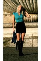 black shiny heels Guess shoes - teal H & M shirt - navy J Crew socks - navy H &