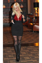leather jacket Bebe jacket - bandage Romwecom tights - custom Jensen skirt
