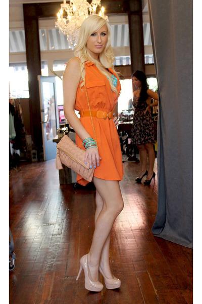 7fe26728ef Carrot Orange Shirt Dress Shopaholics Dresses