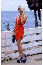 carrot orange shirt dress Shopaholics Boutique dress - blue Dama Handbags bag