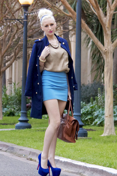 blue Sheinside jacket - brown Vieto bag - tan GoodNight Macaroon blouse