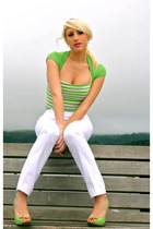 chartreuse open-toe Steve Madden heels - white self-designed self handmade pants