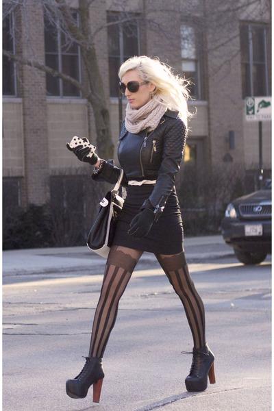 black litas Jeffrey Campbell shoes - black leather jacket Bebe jacket