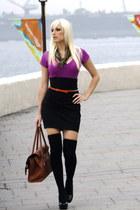thigh-high American Apparel socks - Brown Leather bag