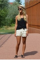 black top - camel hat - cream crochet shorts - black flower sandals