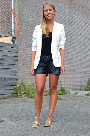black leather shorts - white blazer - gold loafers