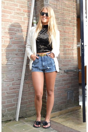 black cropped top - white blazer - navy acid wash denim shorts
