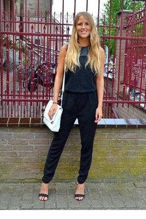 white primark bag - black primark heels - black romper