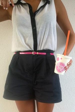 navy primark shorts - white primark blouse - hot pink primark belt