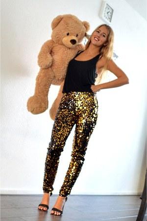 black top - gold sequin pants - black primark heels